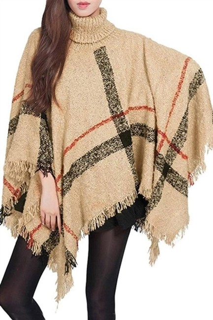 Item - Beige Plaid Turtle Neck Check Style Wrap Poncho/Cape Size OS (one size)