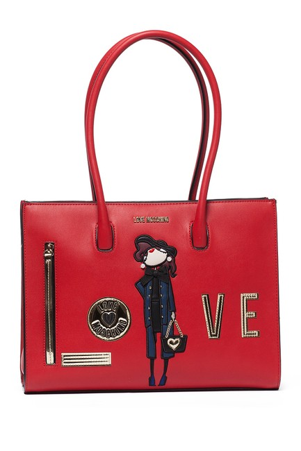 Love Moschino Embroidered and Embellished Tote Red Polyurethane Shoulder Bag Love Moschino Embroidered and Embellished Tote Red Polyurethane Shoulder Bag Image 1