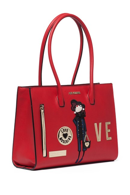 Love Moschino Embroidered and Embellished Tote Red Polyurethane Shoulder Bag Love Moschino Embroidered and Embellished Tote Red Polyurethane Shoulder Bag Image 2