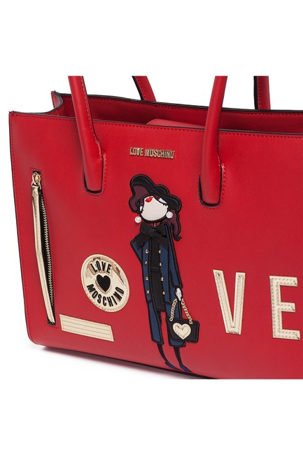 Love Moschino Embroidered and Embellished Tote Red Polyurethane Shoulder Bag Love Moschino Embroidered and Embellished Tote Red Polyurethane Shoulder Bag Image 3