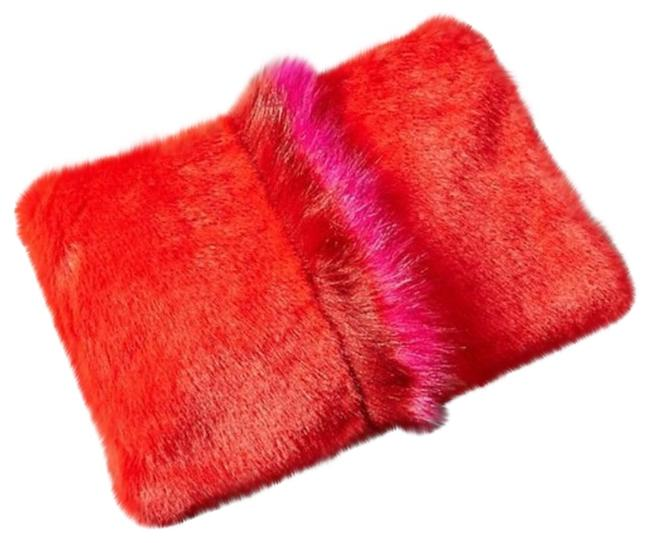 Item - Faux Fur Giant Pouch Red Pink Clutch
