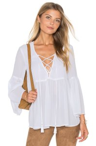 Show Me Your Mumu Lace Poet Top White