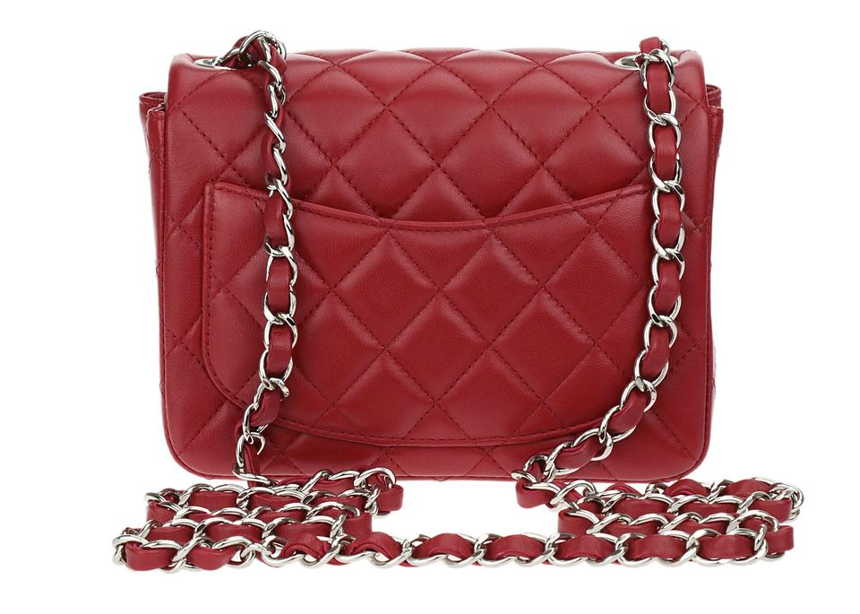 deefeb4503d9 Chanel Classic Flap Square Mini Red Lambskin Leather Shoulder Bag ...
