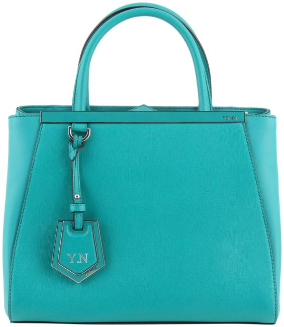 Fendi Green Lago Calf Petite 2jours Tote Blue Leather Shoulder Bag Fendi Green Lago Calf Petite 2jours Tote Blue Leather Shoulder Bag Image 1