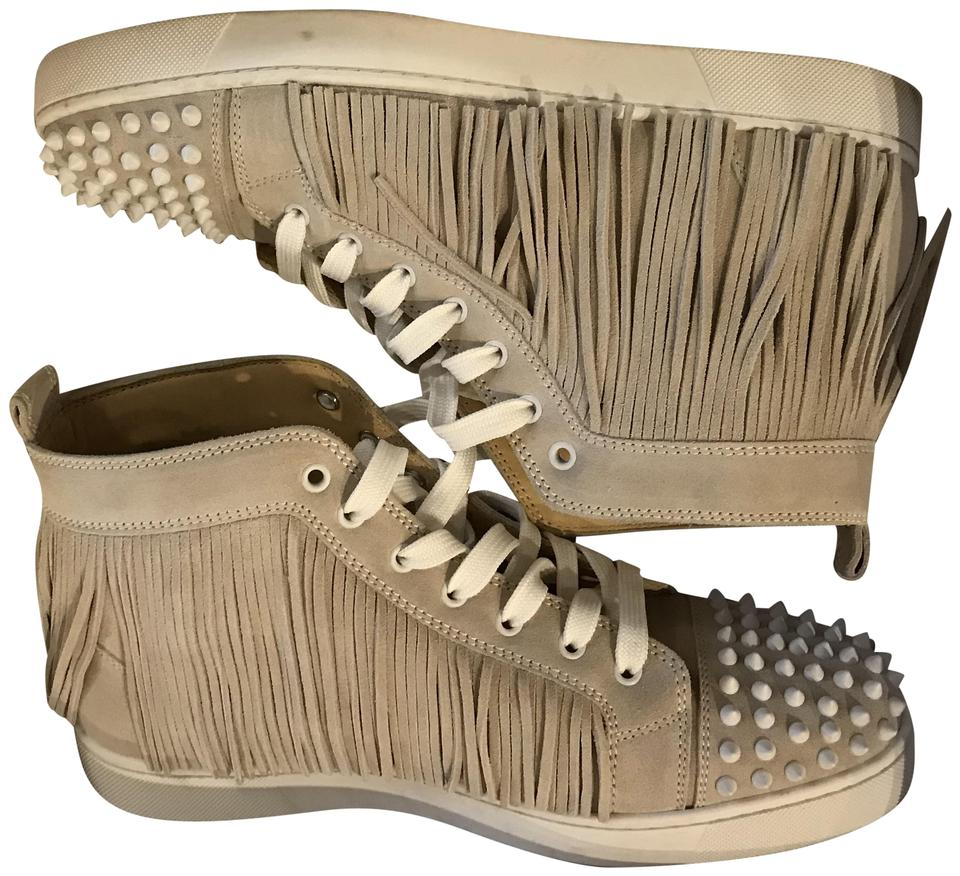 best sneakers 66bc8 2bb85 Christian Louboutin Beige/Taupe Coachelita Fringe High Top Sneakers Size EU  44 (Approx. US 14) Regular (M, B) 72% off retail