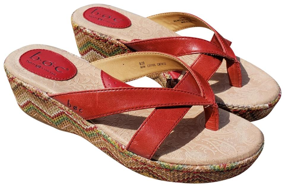 ecfa7643005 B.O.C. Red Leather Wedge Thong Sandals Size US 8 Regular (M
