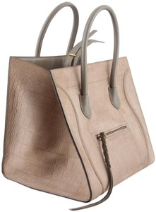 Céline Taupe Embossed Small Tote in beige