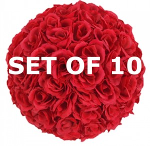 "Red 10 9.84"" Solk Rose Flower Pomander Kissing Balls Reception Decoration"