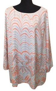 Bob Mackie Top Peach Blue