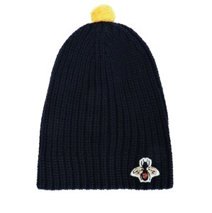 b8d26abce94 Gucci Navy Bee Embroidered Pom Pom Size M Hat - Tradesy