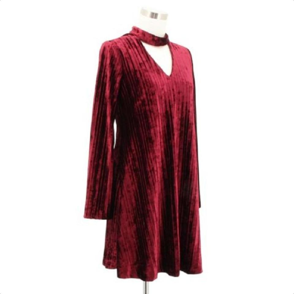 24520acd114 Nicole Miller Red A113 Designer Solid Tunic Long Sleeves Short Formal Dress  Size 4 (S) - Tradesy