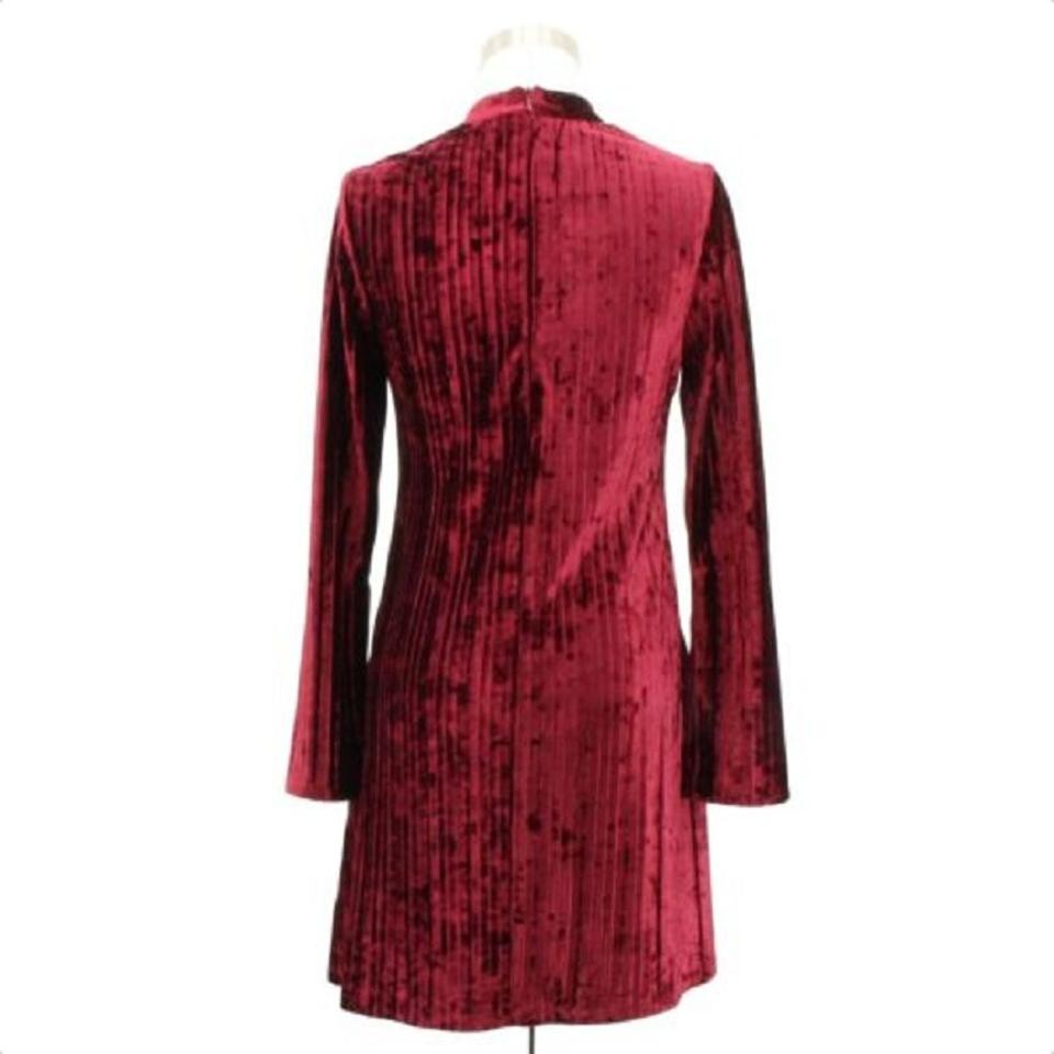 322ad38f105 Nicole Miller Red A113 Designer Solid Tunic Long Sleeves Short ...