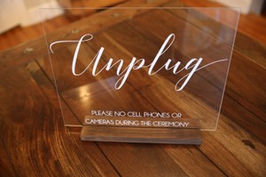 White Unplugged Sign - White/Acrylic Reception Ceremony Decoration