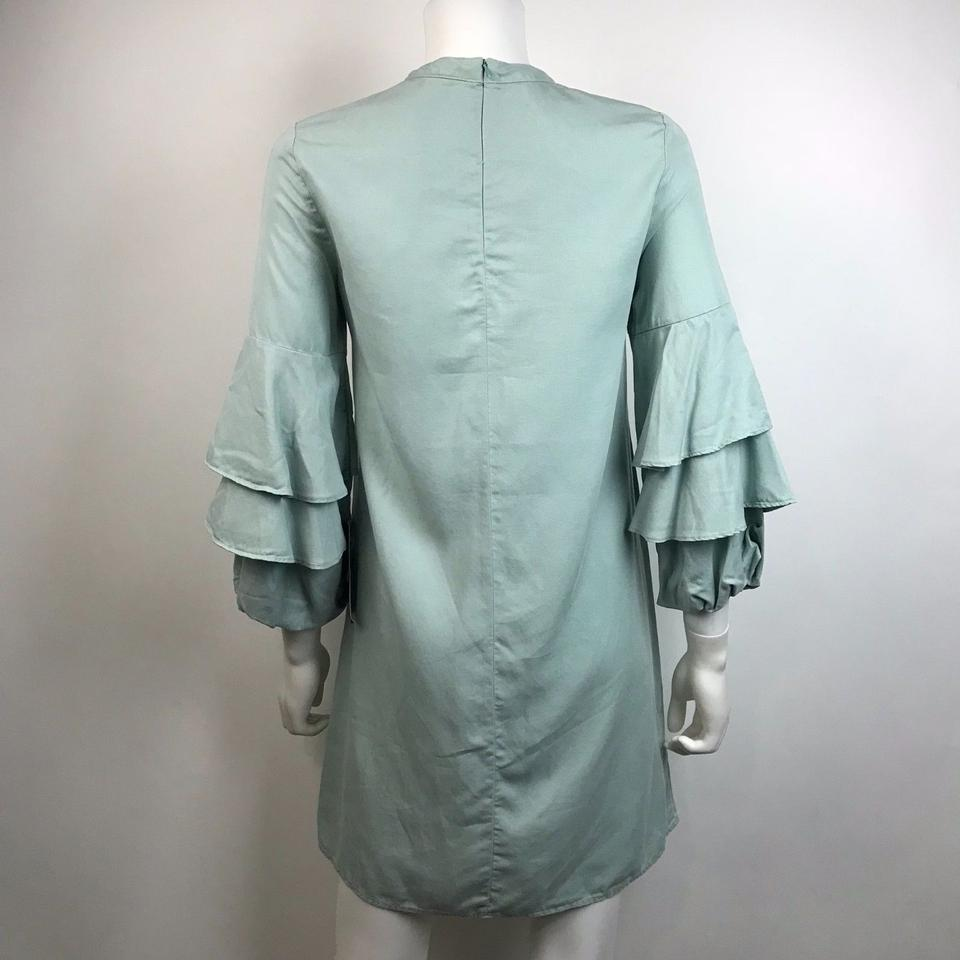 48e4cb53 Zara Frill Ruffle Sleeve Mint Color Mini Shift Short Cocktail Dress ...