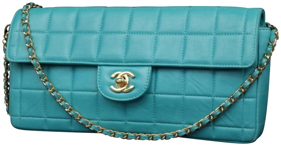 ccd552a0fda Chanel East West Teal Chocolate Bar Quilted Chain Flap 231201 Blue ...