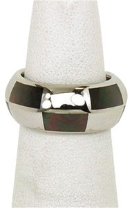 Mauboussin Mother of Pearl Inlay White Gold Band Ring