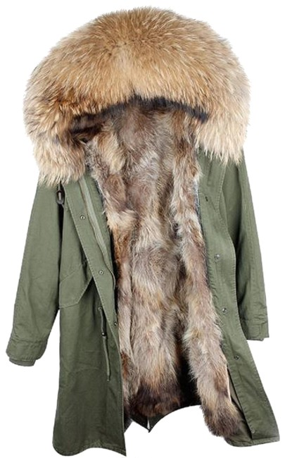 Item - Olive Green and Tan X-long Parka with Real Lining Coat Size 12 (L)