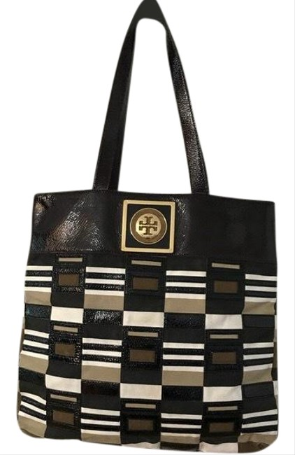 Item - & Fabric Brown Tan Ivory Patent Leather Tote