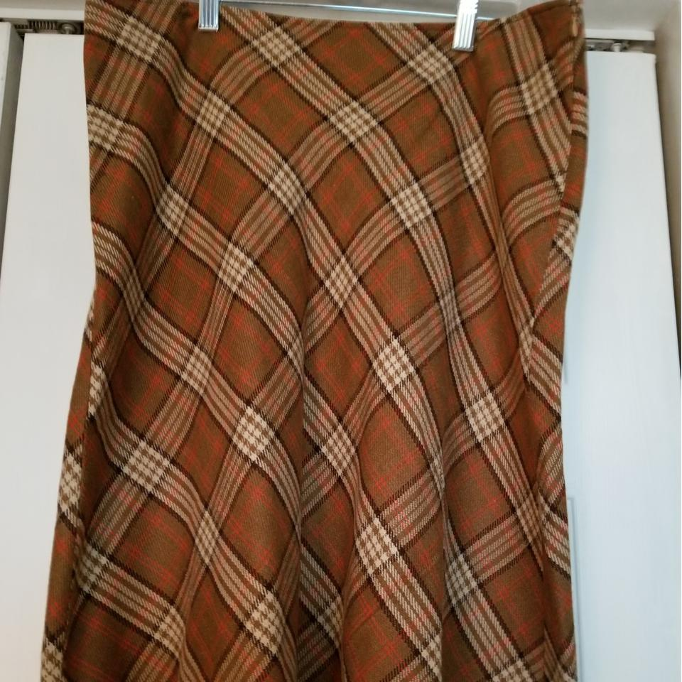 693e8837bc72 Villager Brown And Tan Wool Zip Skirt Size 14 (L, 34) - Tradesy