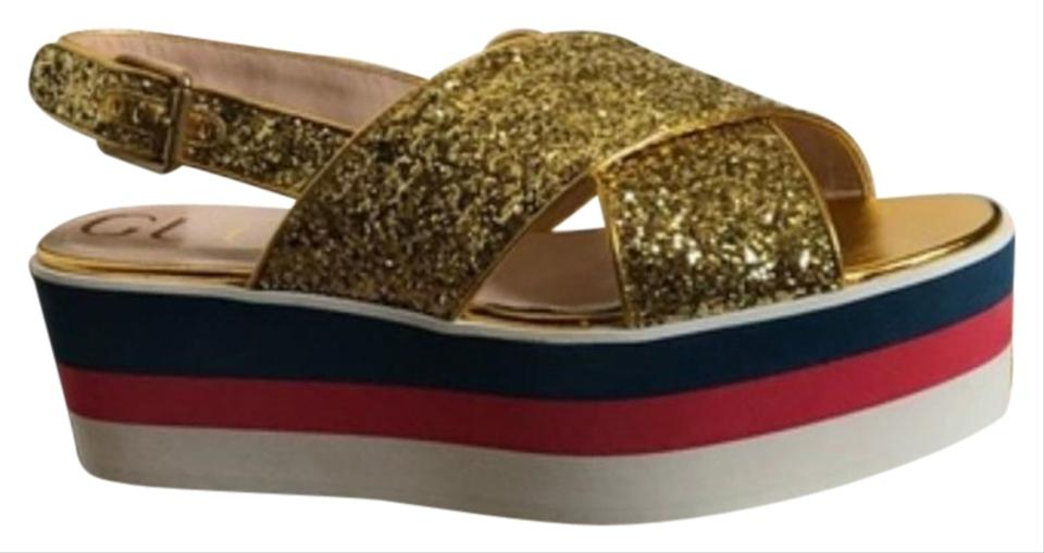 70936ece920 Gucci Gold Crossover Sandal Platforms Size US 8.5 Regular (M