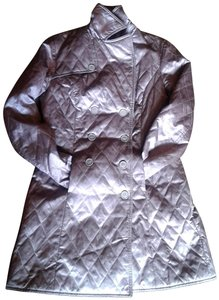 Vakko Quilted Satin Double Brested Made In China 2 Pockets Coat