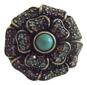 Heidi Daus Authentic Heidi Daus Signed Muliti-color Swarovski Crystal Ring with Faux Turquoise Center Stone Size 8