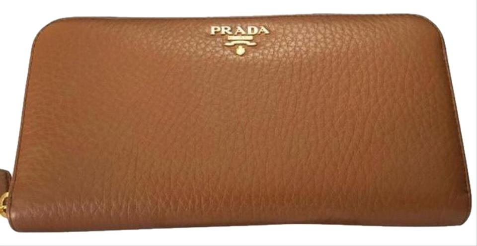 72f8ebea9206dc Prada Brandy Vitello Grain Zip Around Leather Wallet - Tradesy
