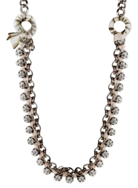 Item - Black / Taupe Ribboned Crystal Chain Necklace