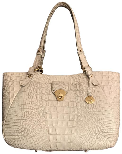 Item - Colleen Shoulder White Gray Gold Leather Tote