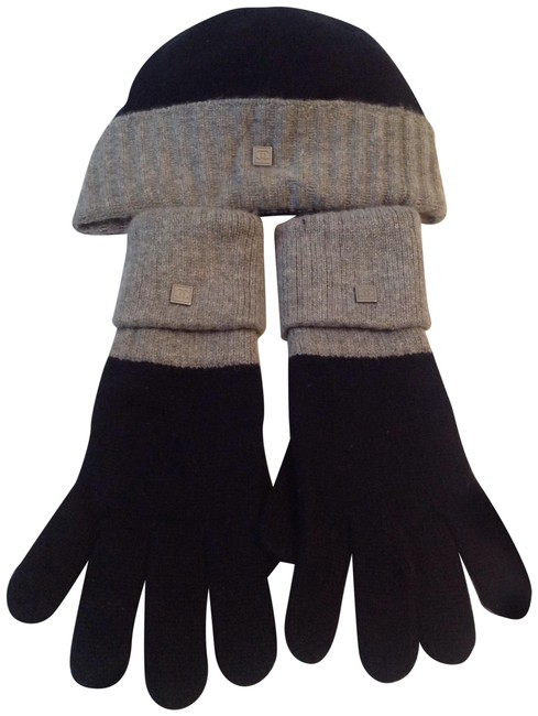 Item - Black and Gray 100 Percent Cashmere Beanie Gloves Hat