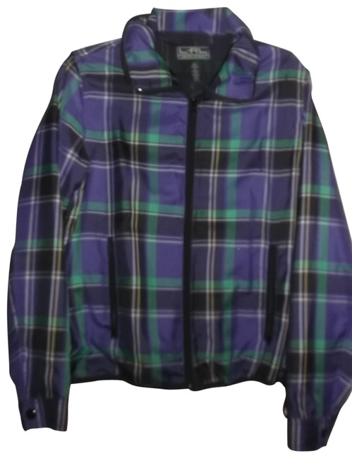 Item - Multicolor L Plaid Zip Up Activewear Outerwear Size 12 (L)