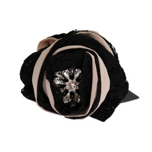 Dolce&Gabbana D1138 Women's Pink Silk Black Lace Crystal Hair Claw