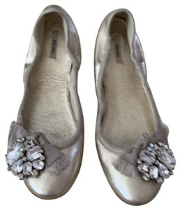 Miu Miu Light Gold Flats