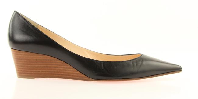 Item - Black Leather Stacked Wedges Size EU 40.5 (Approx. US 10.5) Regular (M, B)