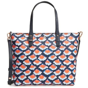 Tory Burch Tote in Navy / Orange Print
