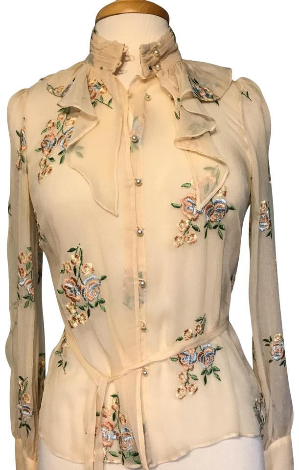 Eci New York Ivory Blouse