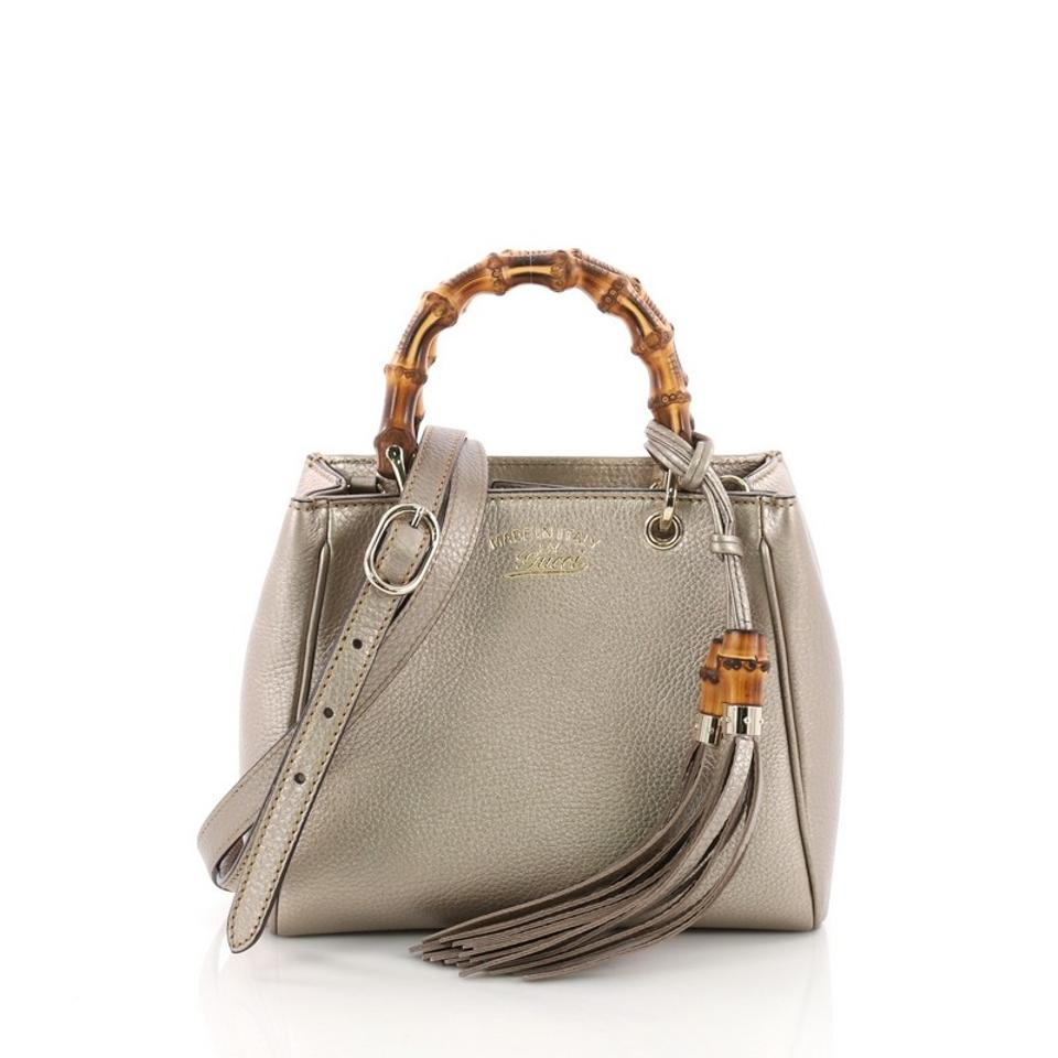 161a4b7e915 Gucci Bamboo Shopper Mini Metallic Light Taupe Leather Tote - Tradesy