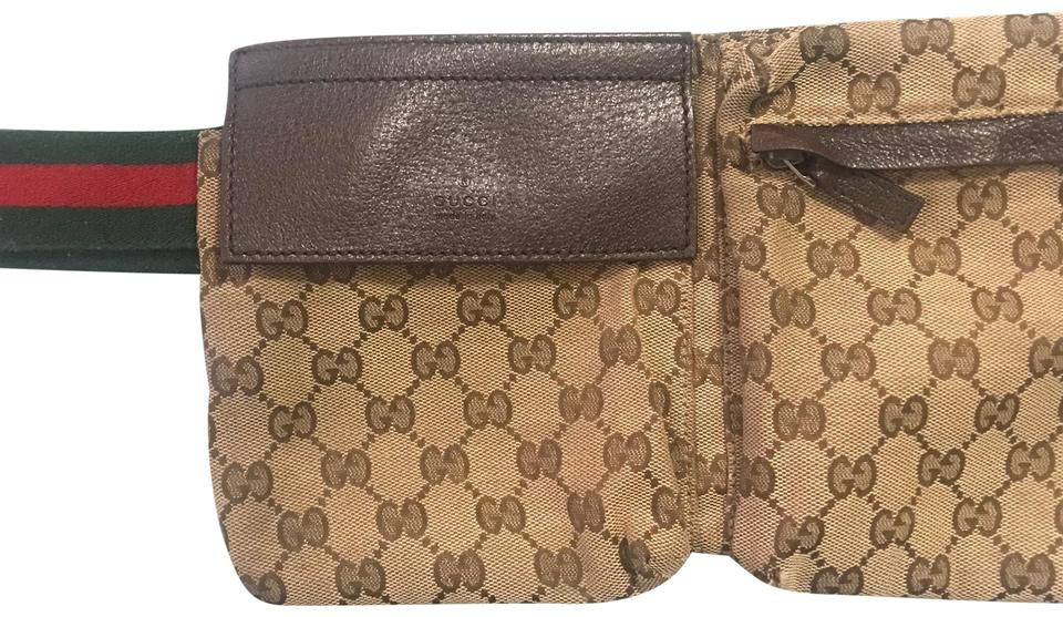 04d99dcd53f5a9 Gucci Fanny Pack Brown/ Beige Canvas Wristlet - Tradesy