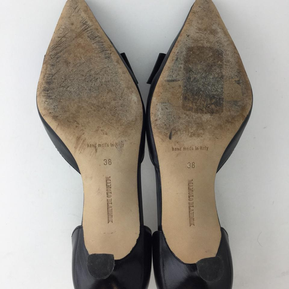 436f271a2 Manolo Blahnik Black Leather Low Heel Stiletto with Buckle Pumps ...