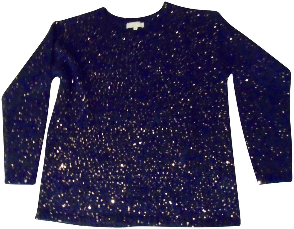 a42b5fab8c Glam Copper Sequin Holiday Party Shimmer Navy Blue Sweater - Tradesy