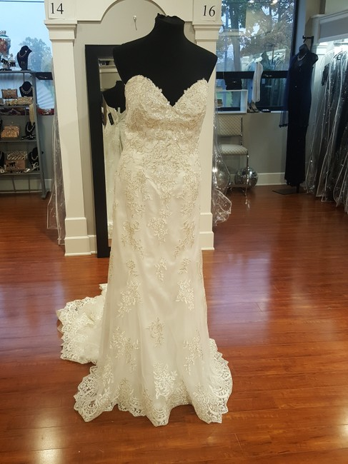 Item - Ivory with Pewter Accent Lace Reynold Modern Wedding Dress Size 22 (Plus 2x)