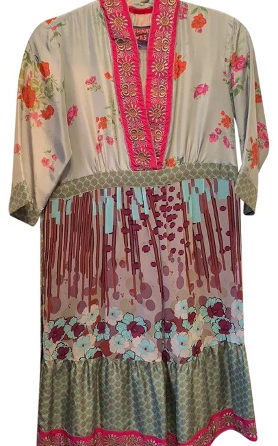 Item - Gray with Multi Colors Floral Print Tunic Mid-length Short Casual Dress Size 2 (XS)