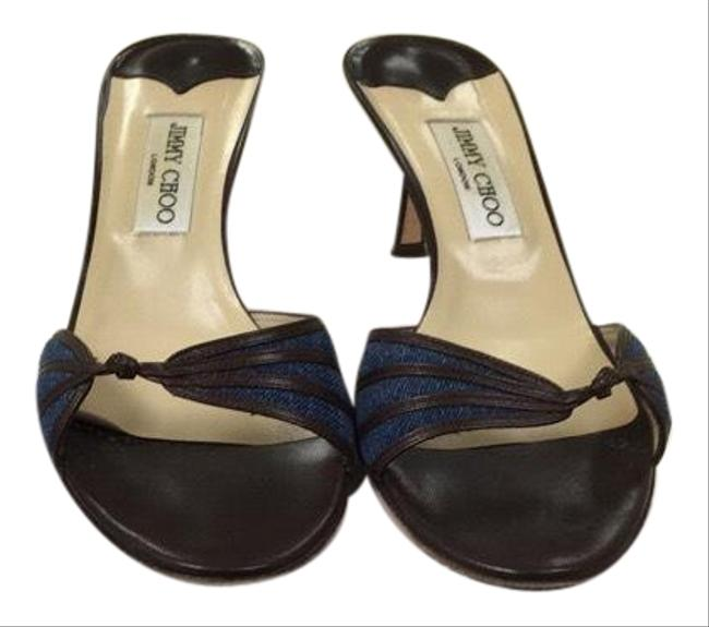 Item - Blue and Brown Claire Mules/Slides Size US 9 Regular (M, B)