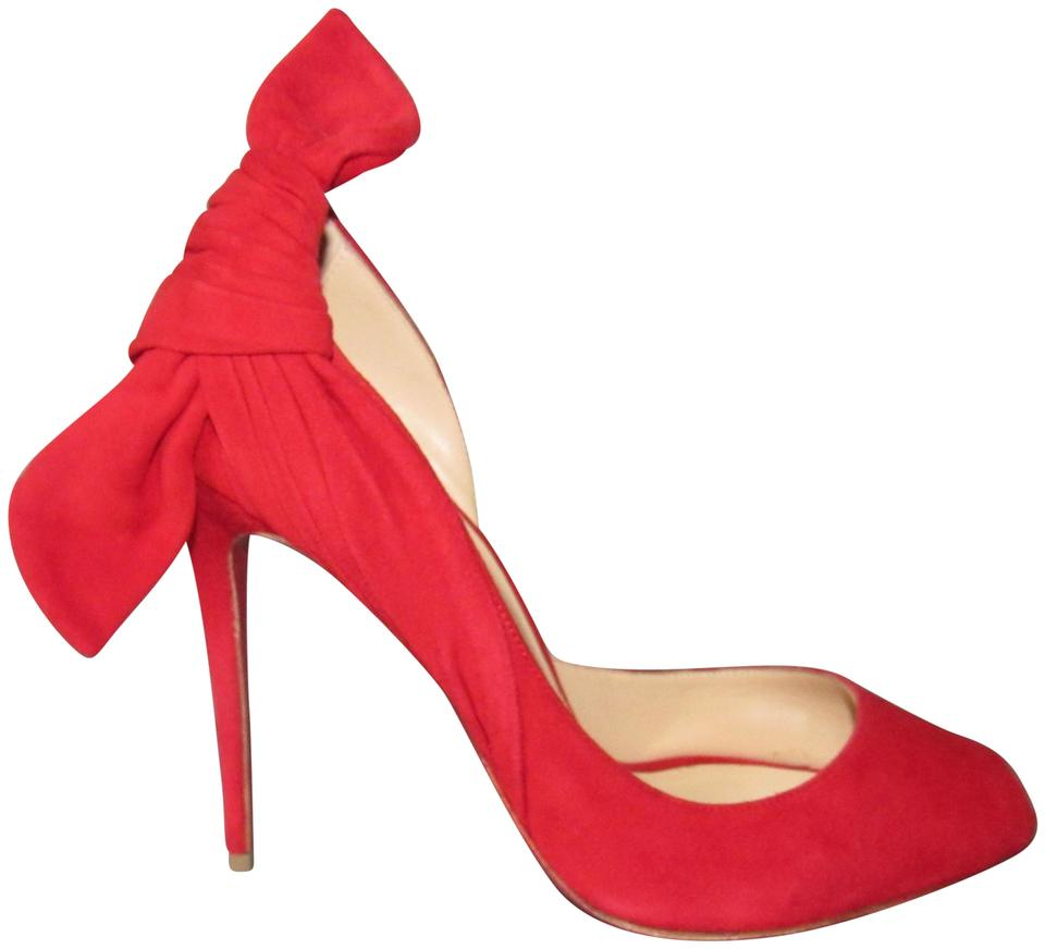 new products 8d151 722c8 Christian Louboutin Red Barbara 100 Suede Peep Toe Knot Dorsay Pumps Size  EU 39 (Approx. US 9) Regular (M, B) 51% off retail