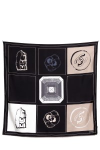 Chanel CHANEL Black & Taupe Print Silk Scarf