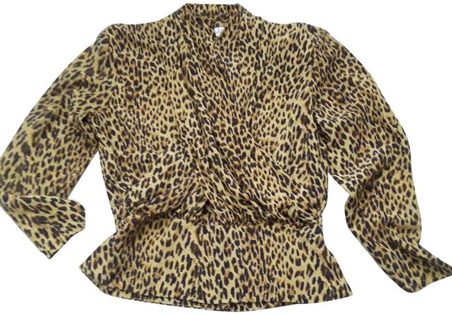 jh Collectibles Mustard W Leopard Crossover W/Navy Accent Blouse Size Petite 10 (M) jh Collectibles Mustard W Leopard Crossover W/Navy Accent Blouse Size Petite 10 (M) Image 1