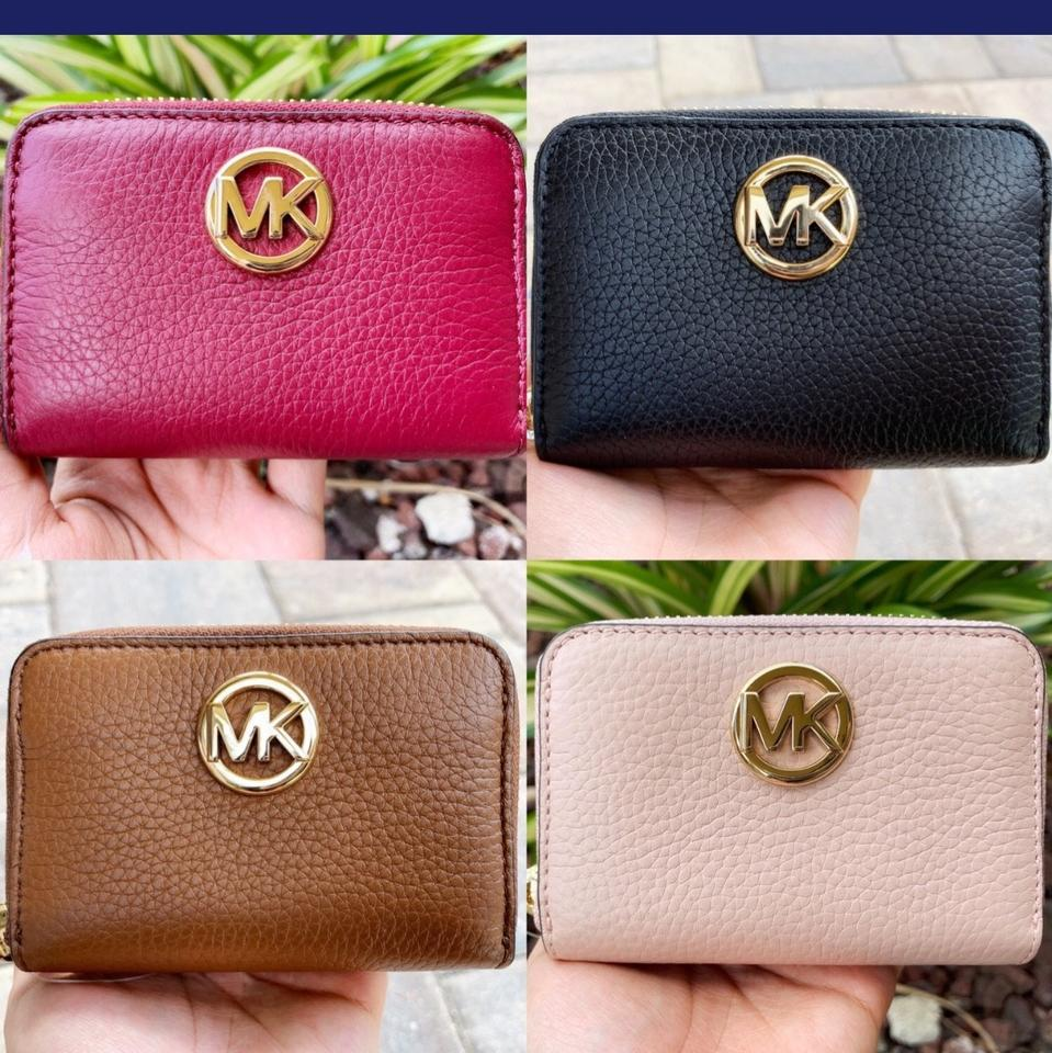 5953362fcc1b Michael Kors Pink Fulton Coin Case Pastel Small Pebble Leather ...