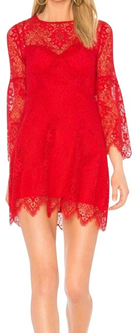 Item - Red Daniella Lace A-line Mid-length Night Out Dress Size 4 (S)
