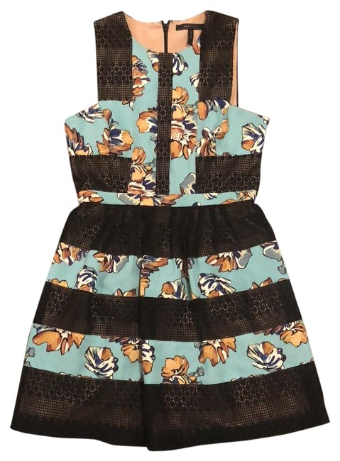 Item - Multi: Black and Blue 24076176 Mid-length Cocktail Dress Size 8 (M)