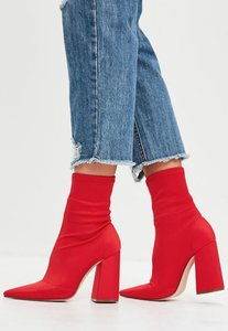 Missguided Sock Stretch Red Boots